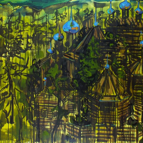 Wooden Town, 5X3 ft, oil on canvas, 2016