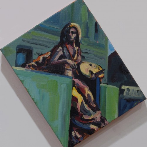 Muse at Boston Public Library, 10X8in, oil on canvas, 2015