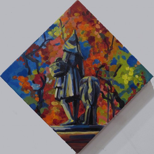 Best Friends - Little Red Riding Hood, Barcelona, 10X10in, oil on canvas, 2015