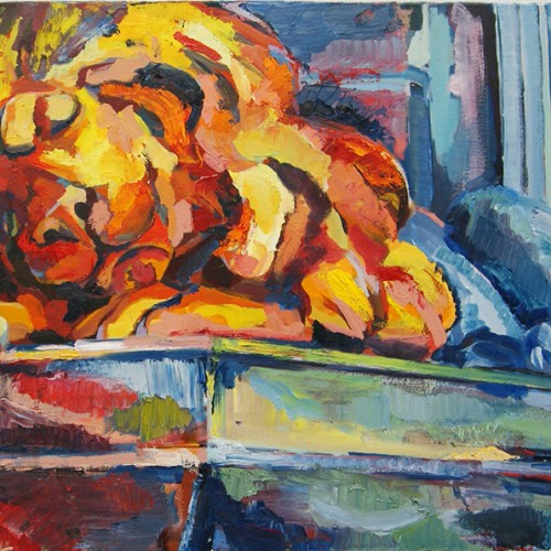Dreams of Freedom (lion statue), 38X24in, Moscow, oil on canvas, 2015